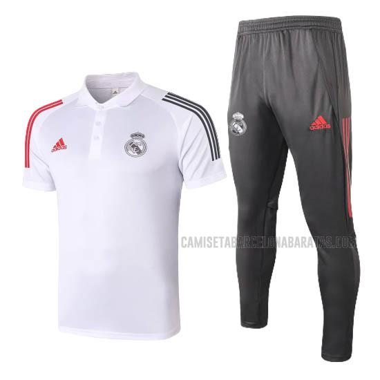 camiseta polo y pantalones real madrid blanco 2020-2021
